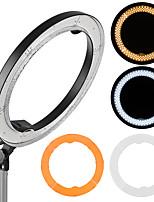 andoer rl-680b 18.9 / 48cm 55w dimmable 5500k macro led vidéo anneau lumière lampe 240pcs perles w / blanc orange filtre flexible métal