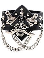 Homme Chaînes & Bracelets Bracelets en cuir Style Punk Hip-Hop Cuir Alliage Forme de Tête de Mort Bijoux Pour Scène Plein Air