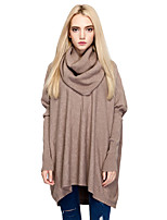 Women's Going out Casual/Daily Simple Street chic Long Pullover,Solid Cowl Neck Long Sleeves Cotton Nylon Fall Winter Medium Micro-elastic