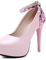 Women's Shoes PU Spring Summer Basic Pump Heels Chunky Heel Round Toe For Party & Evening Office & Career White Black Blushing Pink