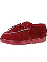 Women's Shoes PU Winter Snow Boots Boots Flat Heel Round Toe Tassel For Casual Red Gray Black