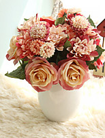 Bouquet Roses Dahlias Artificial Flowers Fall Vivid Fake Leaf Wedding Flower 8 Branch/Bundle