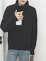 Men's Going out Regular Pullover,Solid Turtleneck Long Sleeves Others Winter Medium Micro-elastic