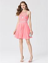 Linea-A Da principessa All'americana Corto / mini Chiffon Cocktail Vestito con Dettagli con cristalli di TS Couture®
