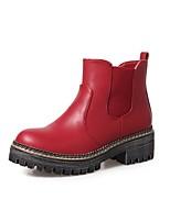 Damen Schuhe PU Herbst Winter Komfort Stiefel Blockabsatz Runde Zehe Für Schwarz Grau Braun Wein