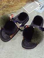 Для женщин Обувь Ткань Весна Осень Удобная обувь Мокасины Тапочки и Шлепанцы На плоской подошве Открытый мыс Ленты Пом пом Назначение