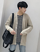Men's Holiday Regular Cardigan,Solid Round Neck Long Sleeves Others Spring Medium Micro-elastic