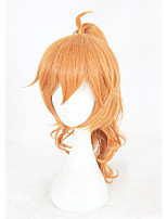 Men Synthetic Wig Capless Medium Length Curly Orange Braided Wig With Ponytail Cosplay Wig Costume Wig