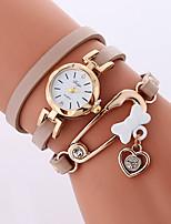 Per donna Orologio alla moda Orologio braccialetto Quarzo PU Banda Fantastico Casual Bianco Grigio Beige