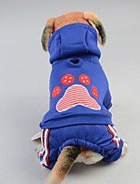 Cane Tuta Abbigliamento per cani Casual Geometrico Rosso Blu
