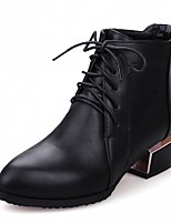Women's Shoes Leatherette Fall Winter Comfort Novelty Combat Boots Boots Chunky Heel Pointed Toe Booties/Ankle Boots With Buckle Lace-up