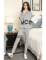 Women's Plus Size Going out Casual/Daily Simple Fall Winter T-shirt Pant Suits,Striped Quotes & Sayings Hooded Long Sleeve Stretchy