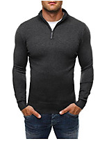 Men's Sports Plus Size Simple Active Regular Pullover,Solid Turtleneck Long Sleeves Cotton Fall Winter Medium Stretchy