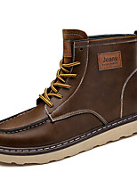 Men's Shoes Real Leather Fall Winter Comfort Combat Boots Boots Lace-up For Casual Dark Brown Light Brown Black