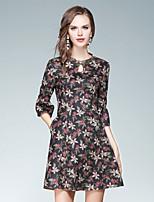 Damen A-Linie Kleid-Ausgehen Lässig/Alltäglich Street Schick Blumen Ständer Übers Knie Halbe Ärmel Baumwolle Polyester Herbst Hohe