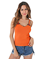 Women's Going out Casual/Daily Sexy Simple Tank Top,Solid V Neck Sleeveless Polyester