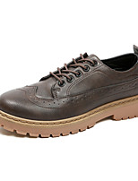 Men's Shoes Leatherette Summer Fall Comfort Oxfords Lace-up For Casual Outdoor Brown Gray Black