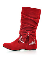 Women's Shoes Nubuck leather Spring Fall Comfort Novelty Bootie Boots Wedge Heel Pointed Toe Mid-Calf Boots Bowknot Sparkling Glitter