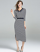 YHSP Women's Going out Casual/Daily Simple Street chic Sophisticated Bodycon Sheath DressStriped Shirt Collar Midi 3/4 Length Sleeves