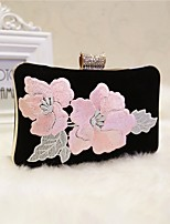 Women Bags All Seasons Polyester Evening Bag Crystal Detailing Embroidery for Event/Party Black Red