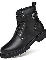 Femme Chaussures Vrai cuir Cuir Nappa Cuir Automne Hiver Confort Bottes à la Mode Botillons boîtes de Combat Bottes Bout rond