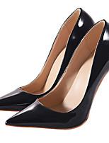 Feminino Sapatos Couro Envernizado Primavera Outono Plataforma Básica Saltos Salto Agulha Dedo Apontado Para Social Festas & Noite Preto