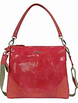 Women Bags All Seasons PVC Shoulder Bag Crystal Detailing for Casual Red