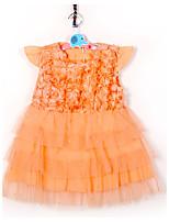 Девичий Платье День рождения На выход На каждый день Праздник Хлопок Однотонный Лето С короткими рукавами