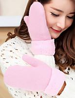 Women's Wool Rabbit Fur Wrist Length FingertipsAccessories Casual Cartoon Winter Gloves Keep Warm Lovely Fashion Knitwear Solid Fall