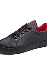 Women's Sneakers Comfort Spring Fall Synthetic Microfiber PU Casual Outdoor Lace-up Flat Heel Black White Under 1in