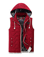 Men's Regular Padded Coat,Simple Going out Casual/Daily Solid-Cotton Polyester Cotton Sleeveless