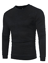 Men's Plus Size Casual/Daily Simple Sweatshirt Solid Print Round Neck Micro-elastic Cotton Long Sleeve Spring Fall