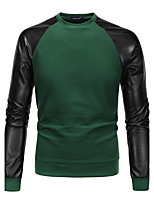 Men's Sports Going out Simple Sweatshirt Solid Round Neck Micro-elastic PU Cotton Long Sleeve Spring Fall