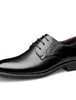 Masculino sapatos Pele Real Couro Pele Outono Inverno Conforto Sapatos formais Oxfords Cadarço Para Casual Preto Marron