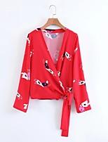 Camicia Da donna Per uscire Casual Sensuale Semplice Moda città Primavera Autunno,Tinta unita Con stampe A V Cotone Altro Manica lunga