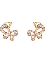 Women's Hoop Earrings AAA Cubic Zirconia Bohemian Gold Plated Butterfly Jewelry For Party Birthday Daily Office & Career