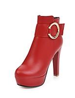 Feminino Sapatos Courino Outono Inverno Botas da Moda Botas Salto Agulha Ponta Redonda Botas Curtas / Ankle Presilha Para Casual Social