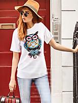 T-shirt Da donna Casual Taglie forti Semplice Moda città Estate,Ricamato Rotonda Cotone Manica corta Medio spessore