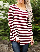 Women's Going out Casual/Daily Vintage Boho Spring Fall T-shirt,Striped Floral Round Neck Long Sleeves Polyester Medium