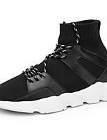Для мужчин обувь Тюль Весна Осень Удобная обувь Кеды Шнуровка Назначение Повседневные Черный
