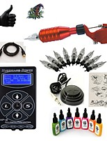 Starter Tattoo-Kits 1 x Drehtattoomaschine für Umrißlinien und Schattierung LED-Stromversorgung 5 x Tattoonadeln RL 3 Komplett-Set