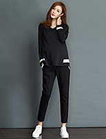 Women's Sports Work Simple Fall Winter Hoodie Pant SuitsSolid Round Neck Long Sleeve Micro-elastic