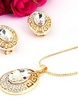 Women's Fashion Simple Style Rhinestone Gold Plated Earrings Necklace For Wedding Party Wedding Gifts
