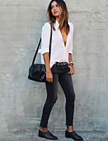 Women's Holiday Casual/Daily Sexy Street chic Fall Shirt,Solid Shirt Collar Long Sleeves Polyester