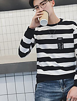 Men's Casual/Daily Sweatshirt Striped Round Neck Inelastic Cotton Polyester Long Sleeve Fall