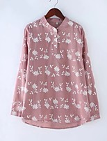 Women's Going out Casual/Daily Sexy Simple Street chic Spring Fall Shirt,Floral Print Stand Long Sleeves Cotton Others Thin Medium