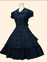 Einteilig/Kleid Niedlich Vintage Inspirationen Prinzessin Cosplay Lolita Kleider Schwarz Weiß Beige Einheitliche Farbe Kurzarm Wadenlänge