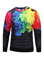 Men's Going out Casual/Daily Simple Active Sweatshirt 3D Print Round Neck Micro-elastic Polyester Long Sleeve Fall