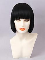 Donna Parrucche senza cappuccio per capelli umani Nero Giallo Strawberry Blonde candeggiante / biondo Medio Lisci Parrucca riccia stile