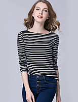 Women's Holiday Casual/Daily Simple Street chic T-shirt,Striped Round Neck Long Sleeves Polyester